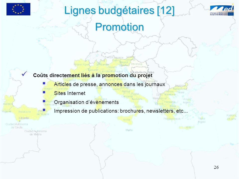 Coûts directement liés à la promotion du projet Articles de presse, annonces dans les journaux Sites Internet Organisation dévènements Impression de p