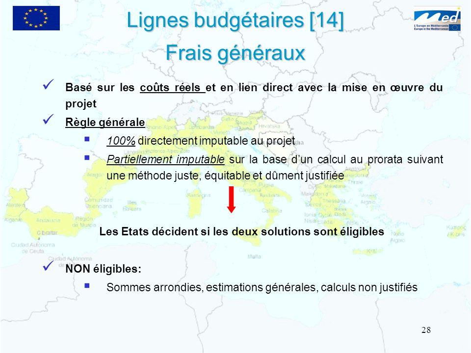 Lignes budgétaires [14] Frais généraux Basé sur les coûts réels et en lien direct avec la mise en œuvre du projet Règle générale 100% directement impu