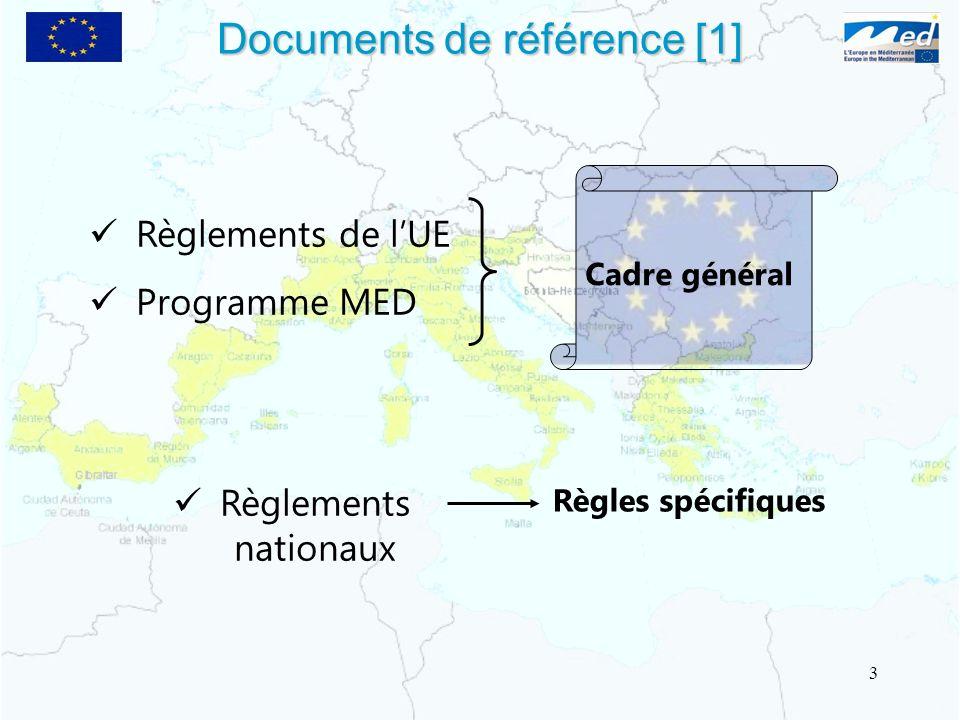 Documents de référence [1] Règlements de lUE Programme MED Règlements nationaux Cadre général Règles spécifiques 3