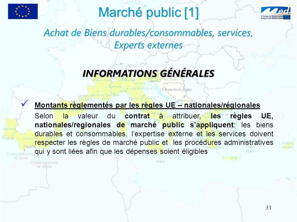 Marché public [1] Montants règlementés par les règles UE – nationales/régionales Selon la valeur du contrat à attribuer, les règles UE, nationales/reg