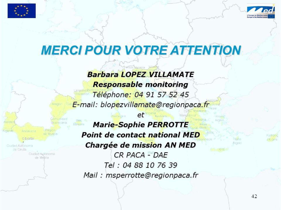 Barbara LOPEZ VILLAMATE Responsable monitoring Téléphone: 04 91 57 52 45 E-mail: blopezvillamate@regionpaca.fr et Marie-Sophie PERROTTE Point de conta