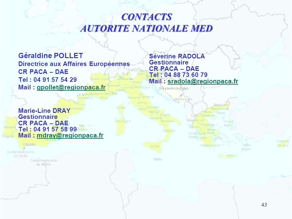 CONTACTS AUTORITE NATIONALE MED Géraldine POLLET Directrice aux Affaires Européennes CR PACA – DAE Tel : 04 91 57 54 29 Mail : gpollet@regionpaca.fr M