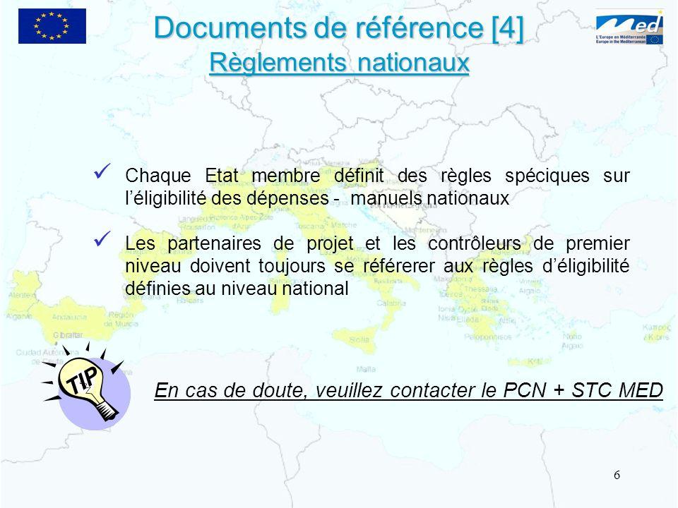 Documents de référence [4] Règlements nationaux Chaque Etat membre définit des règles spéciques sur léligibilité des dépenses - manuels nationaux Les