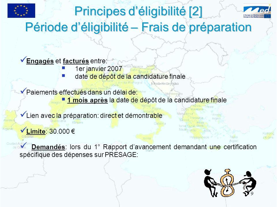 Principes déligibilité [2] Engagés et facturés entre: 1er janvier 2007 date de dépôt de la candidature finale Paiements effectués dans un délai de: 1