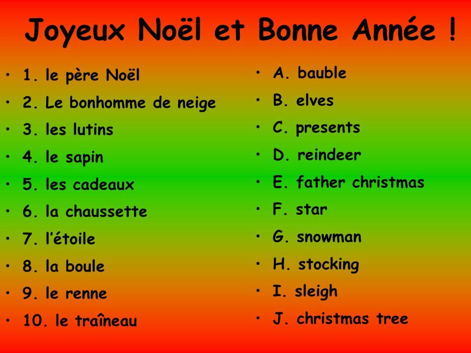 Joyeux Noël et Bonne Année ! 1. le père Noël 2. Le bonhomme de neige 3. les lutins 4. le sapin 5. les cadeaux 6. la chaussette 7. létoile 8. la boule