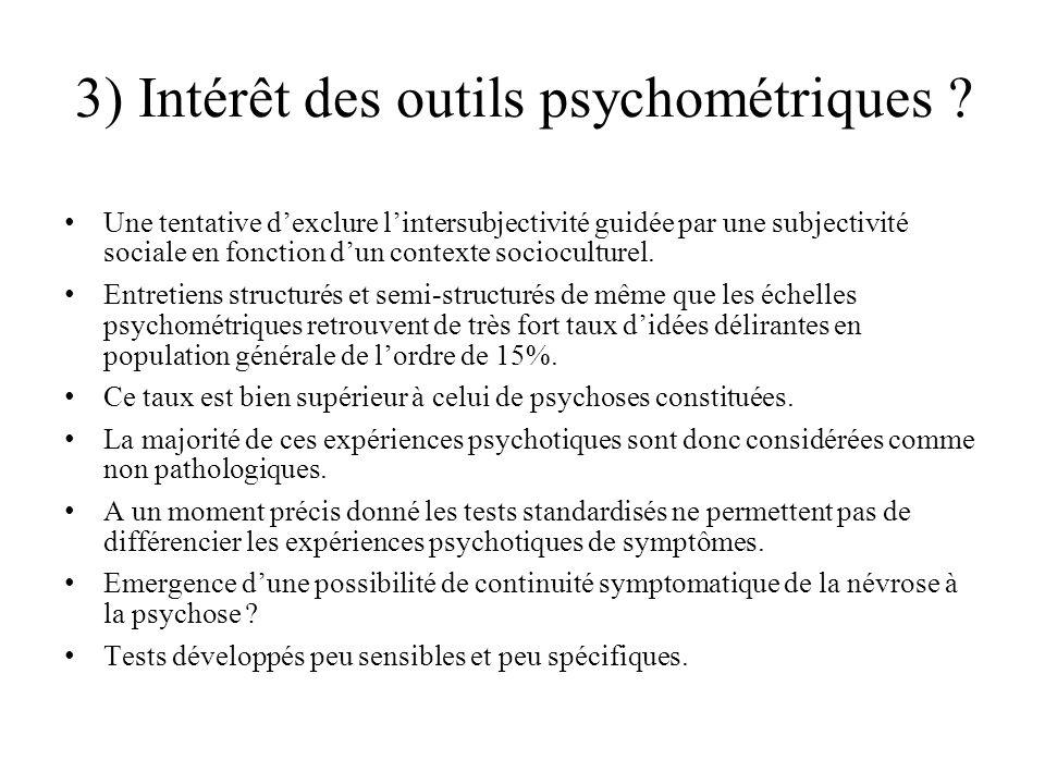 3) Intérêt des outils psychométriques .