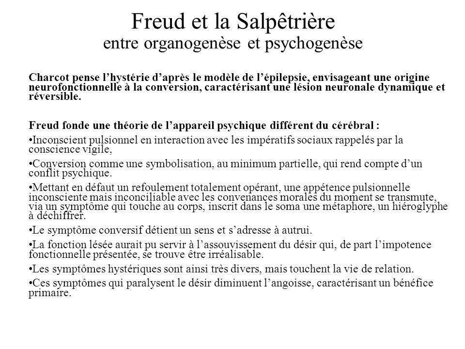 Freud et la Salpêtrière entre organogenèse et psychogenèse Charcot pense lhystérie daprès le modèle de lépilepsie, envisageant une origine neurofonctionnelle à la conversion, caractérisant une lésion neuronale dynamique et réversible.