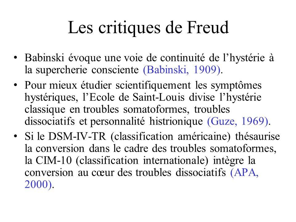Les critiques de Freud Babinski évoque une voie de continuité de lhystérie à la supercherie consciente (Babinski, 1909).