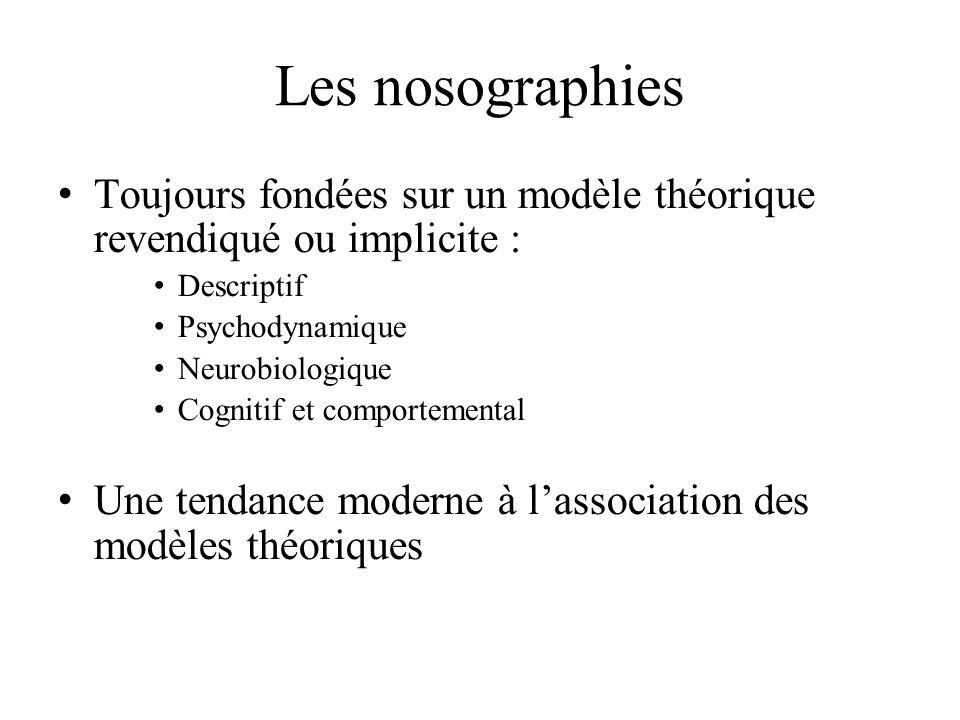 Les nosographies Toujours fondées sur un modèle théorique revendiqué ou implicite : Descriptif Psychodynamique Neurobiologique Cognitif et comportemental Une tendance moderne à lassociation des modèles théoriques