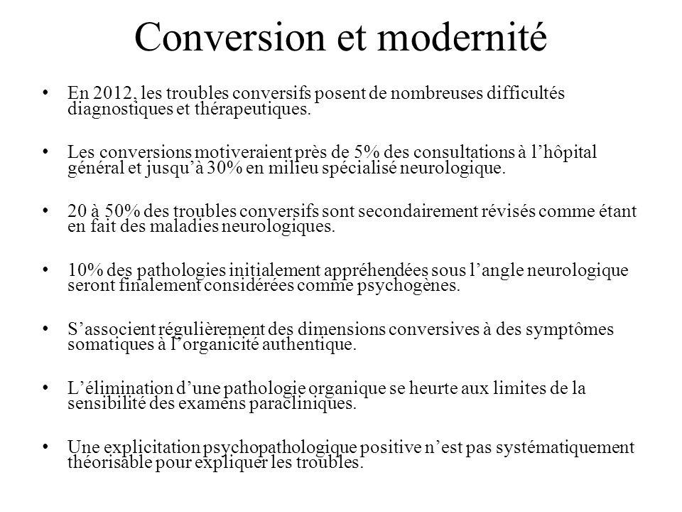 Conversion et modernité En 2012, les troubles conversifs posent de nombreuses difficultés diagnostiques et thérapeutiques.