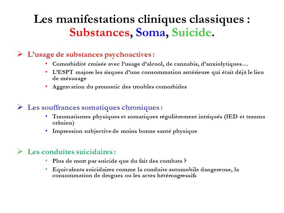 Les manifestations cliniques classiques : Substances, Soma, Suicide.