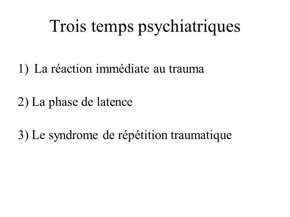 Trois temps psychiatriques 1)La réaction immédiate au trauma 2) La phase de latence 3) Le syndrome de répétition traumatique