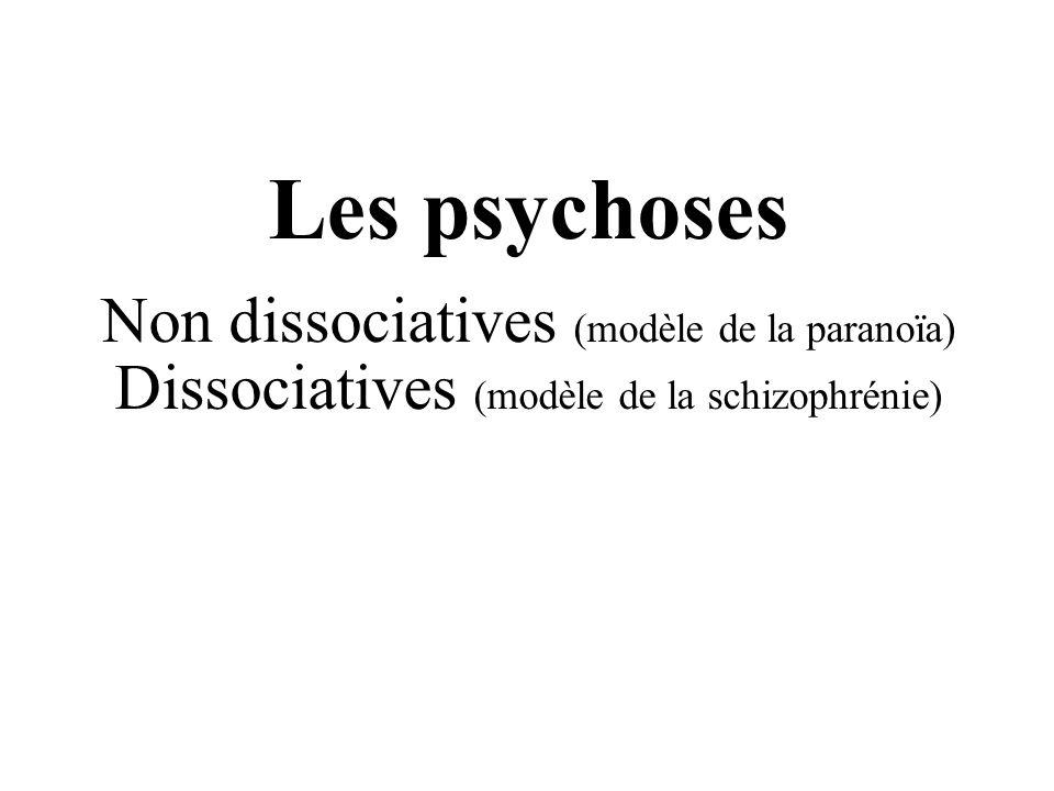 Les psychoses Non dissociatives (modèle de la paranoïa) Dissociatives (modèle de la schizophrénie)
