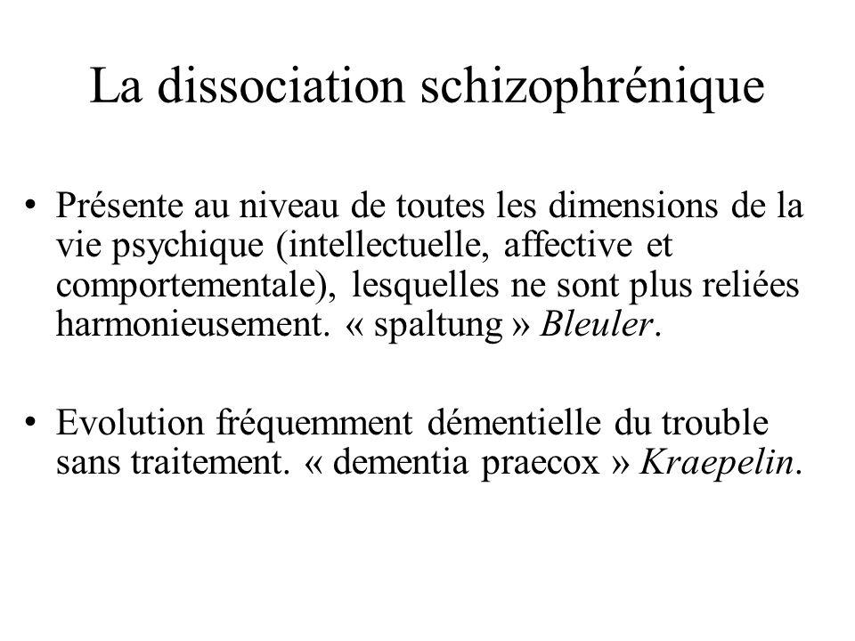 La dissociation schizophrénique Présente au niveau de toutes les dimensions de la vie psychique (intellectuelle, affective et comportementale), lesquelles ne sont plus reliées harmonieusement.