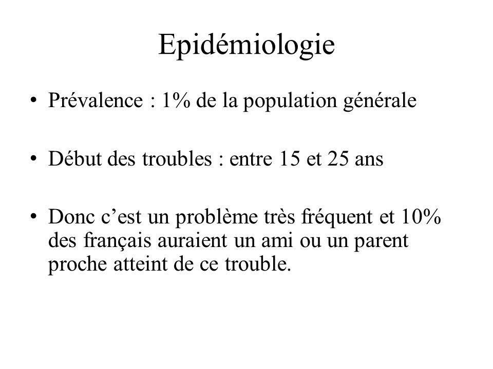 Epidémiologie Prévalence : 1% de la population générale Début des troubles : entre 15 et 25 ans Donc cest un problème très fréquent et 10% des français auraient un ami ou un parent proche atteint de ce trouble.