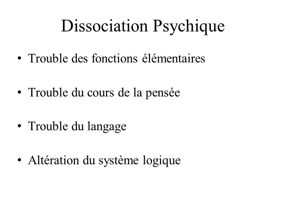 Dissociation Psychique Trouble des fonctions élémentaires Trouble du cours de la pensée Trouble du langage Altération du système logique