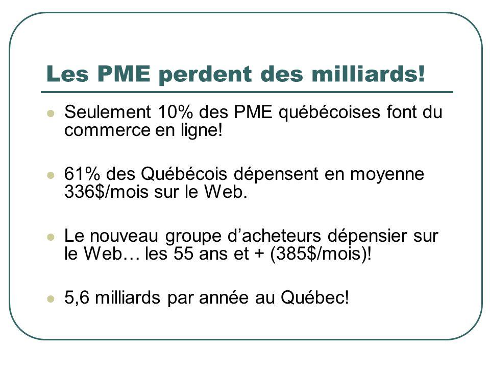 Les PME perdent des milliards! Seulement 10% des PME québécoises font du commerce en ligne! 61% des Québécois dépensent en moyenne 336$/mois sur le We