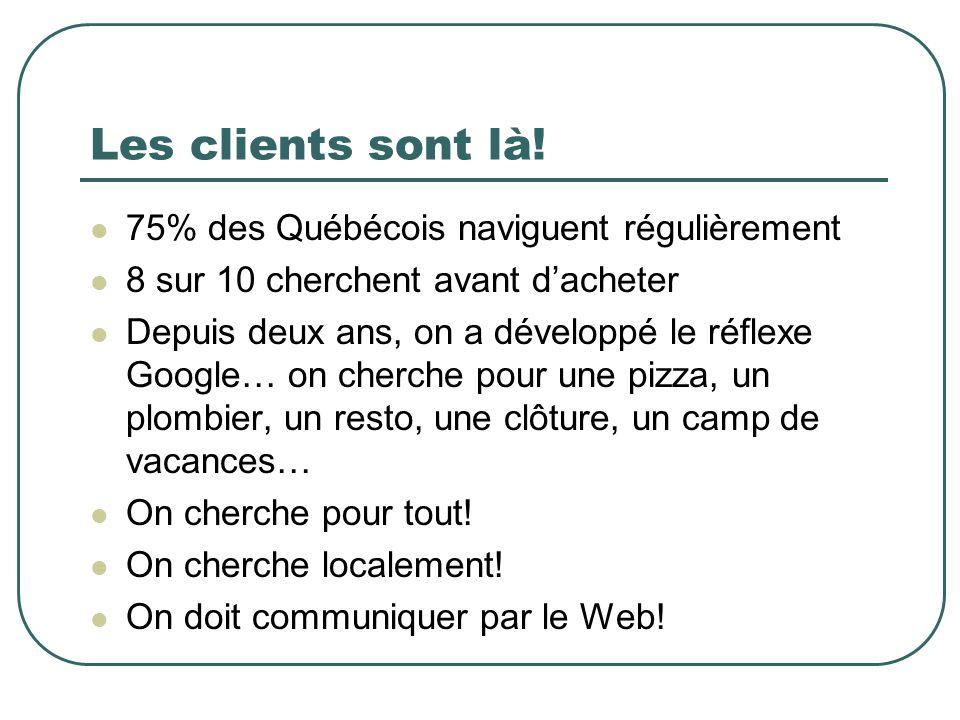 Les clients sont là! 75% des Québécois naviguent régulièrement 8 sur 10 cherchent avant dacheter Depuis deux ans, on a développé le réflexe Google… on