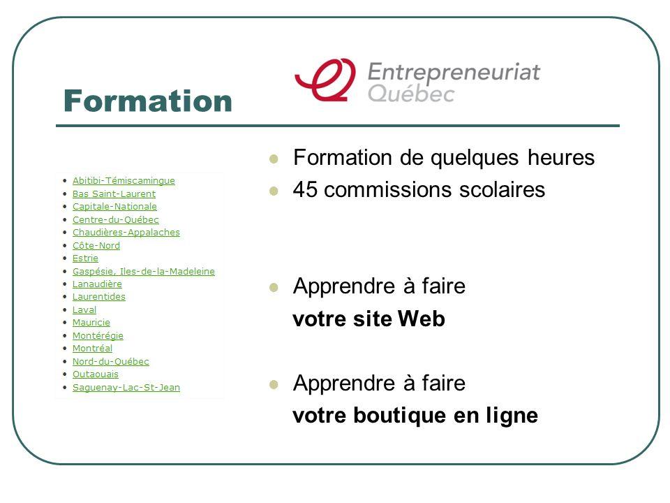 Formation Formation de quelques heures 45 commissions scolaires Apprendre à faire votre site Web Apprendre à faire votre boutique en ligne