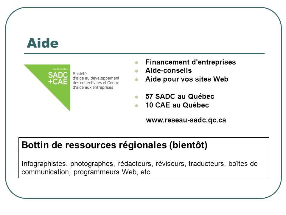 Aide Financement d'entreprises Aide-conseils Aide pour vos sites Web 57 SADC au Québec 10 CAE au Québec www.reseau-sadc.qc.ca Bottin de ressources rég