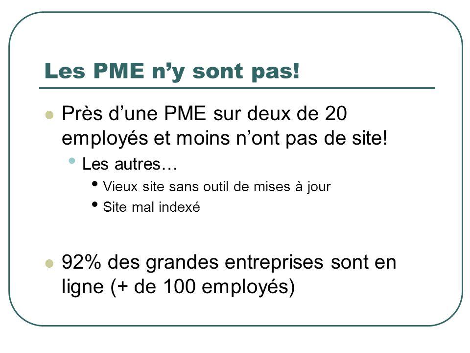 Les PME ny sont pas! Près dune PME sur deux de 20 employés et moins nont pas de site! Les autres… Vieux site sans outil de mises à jour Site mal index