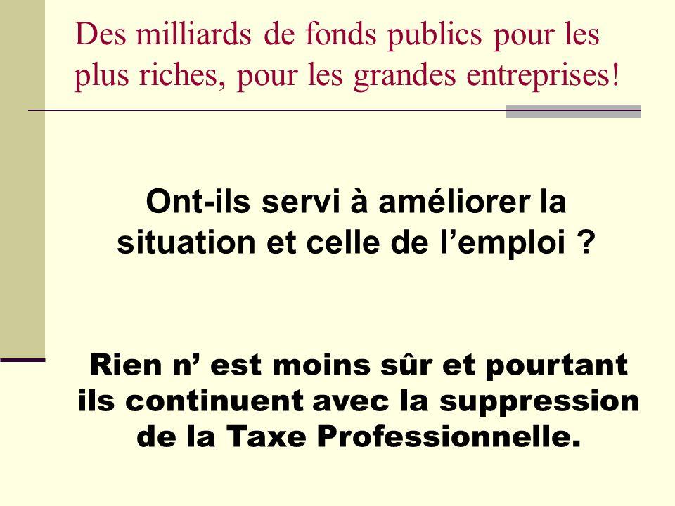 Rien n est moins sûr et pourtant ils continuent avec la suppression de la Taxe Professionnelle.