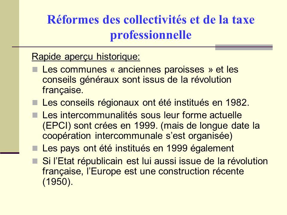 Réformes des collectivités et de la taxe professionnelle Rapide aperçu historique: Les communes « anciennes paroisses » et les conseils généraux sont issus de la révolution française.