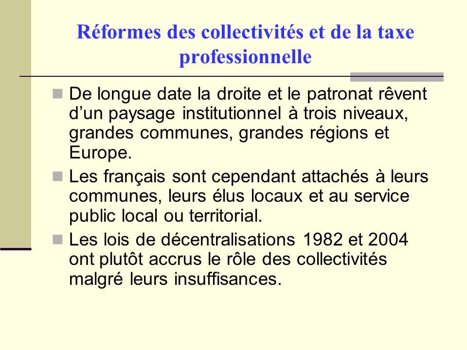 Réformes des collectivités et de la taxe professionnelle De longue date la droite et le patronat rêvent dun paysage institutionnel à trois niveaux, grandes communes, grandes régions et Europe.