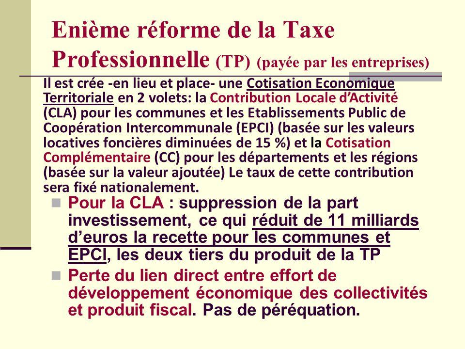 Enième réforme de la Taxe Professionnelle (TP) (payée par les entreprises) Pour la CLA : suppression de la part investissement, ce qui réduit de 11 milliards deuros la recette pour les communes et EPCI, les deux tiers du produit de la TP Perte du lien direct entre effort de développement économique des collectivités et produit fiscal.