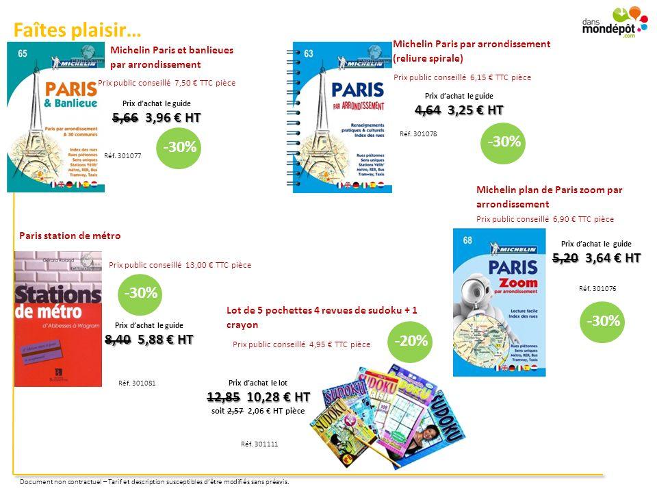 Faîtes plaisir… Michelin Paris et banlieues par arrondissement Réf. 301077 Prix dachat le guide 5,66 3,96 HT Paris station de métro Prix dachat le gui