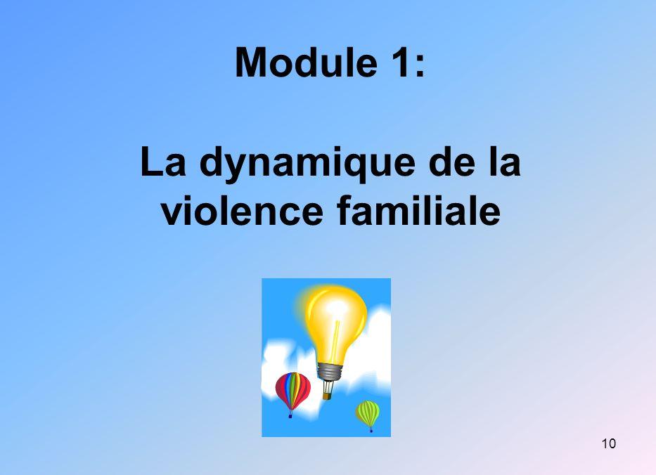 10 Module 1: La dynamique de la violence familiale