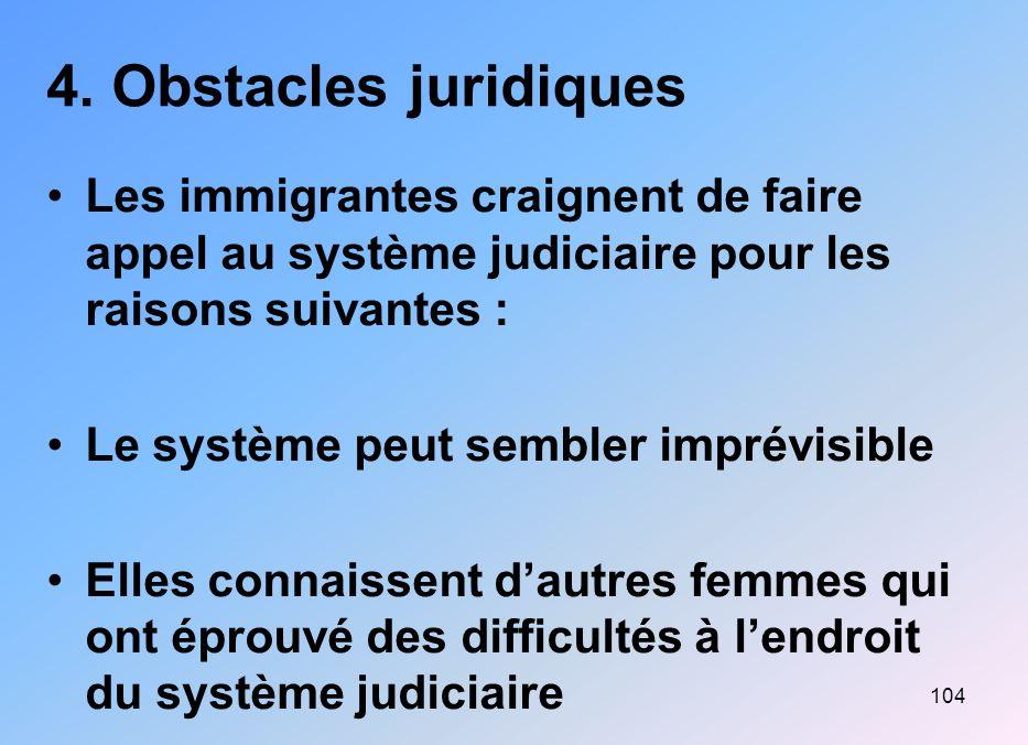 104 4. Obstacles juridiques Les immigrantes craignent de faire appel au système judiciaire pour les raisons suivantes : Le système peut sembler imprév