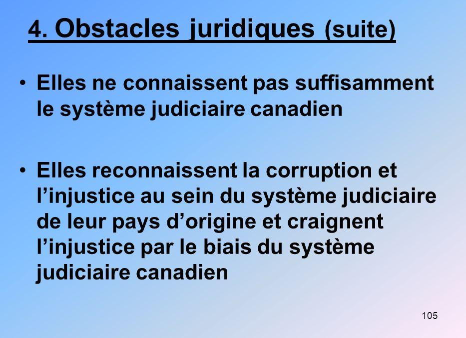 105 4. Obstacles juridiques (suite) Elles ne connaissent pas suffisamment le système judiciaire canadien Elles reconnaissent la corruption et linjusti