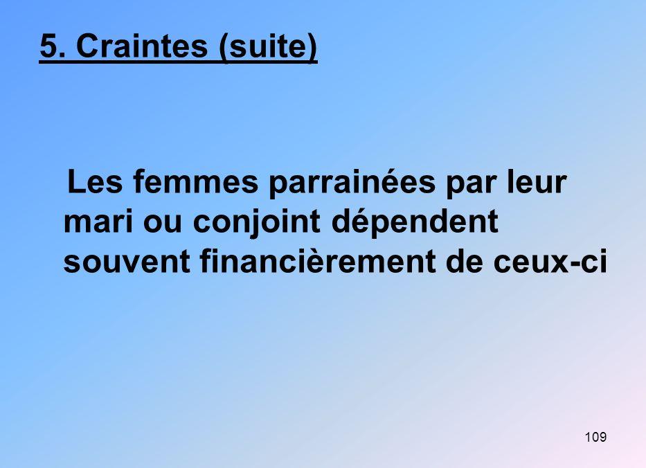 109 5. Craintes (suite) Les femmes parrainées par leur mari ou conjoint dépendent souvent financièrement de ceux-ci
