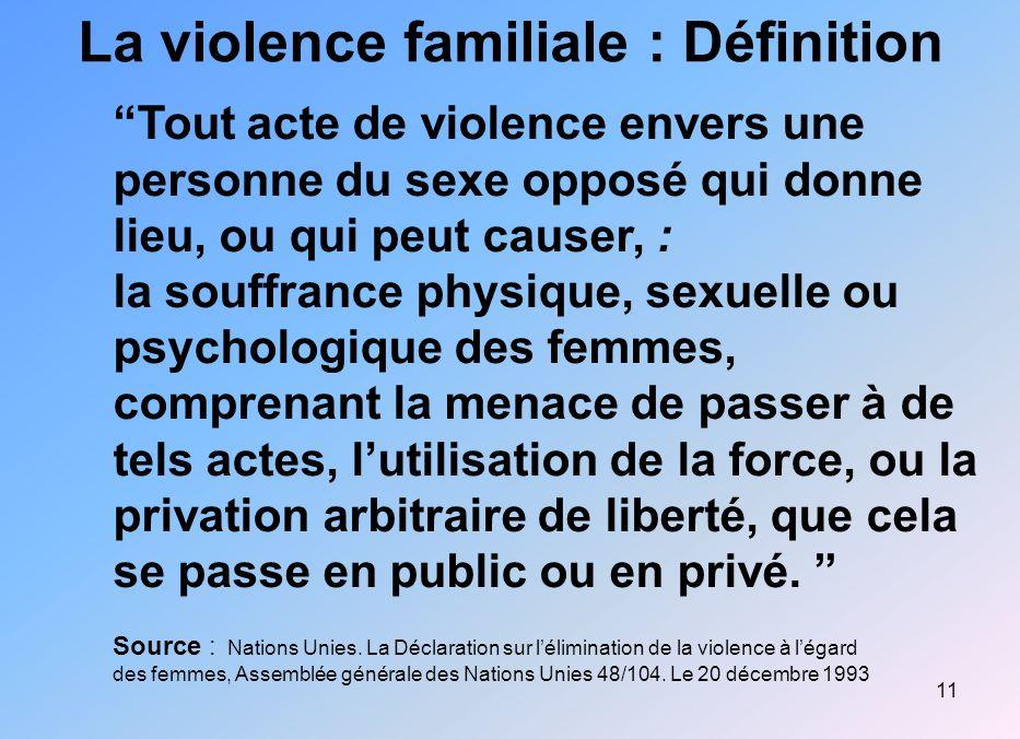 11 La violence familiale : Définition Tout acte de violence envers une personne du sexe opposé qui donne lieu, ou qui peut causer, : la souffrance phy