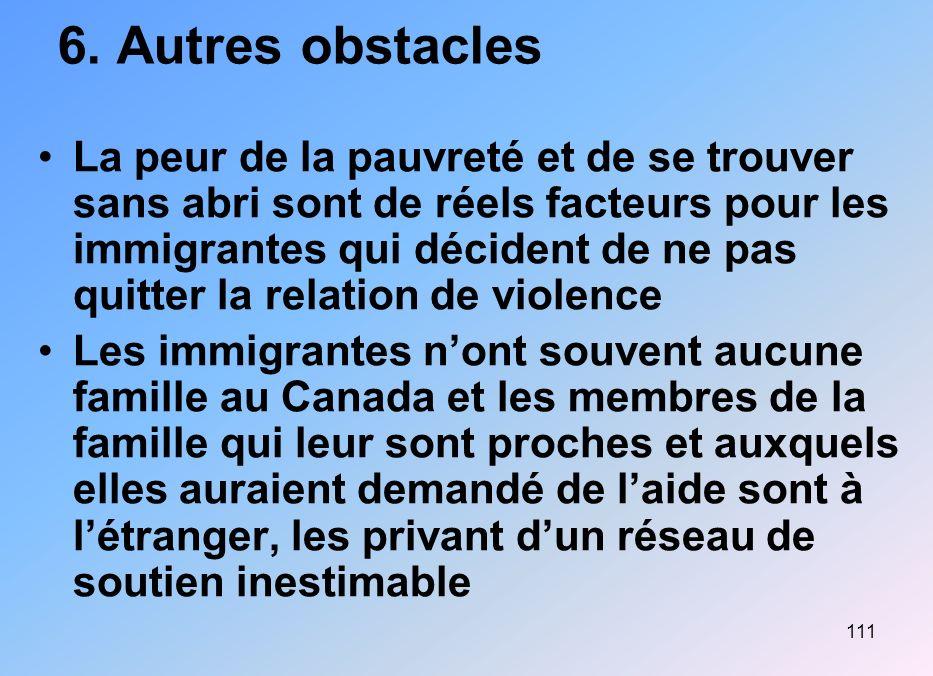 111 6. Autres obstacles La peur de la pauvreté et de se trouver sans abri sont de réels facteurs pour les immigrantes qui décident de ne pas quitter l