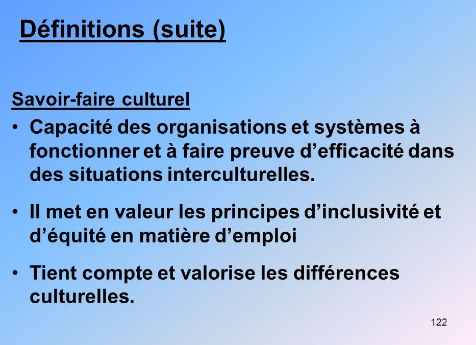 122 Définitions (suite) Savoir-faire culturel Capacité des organisations et systèmes à fonctionner et à faire preuve defficacité dans des situations i
