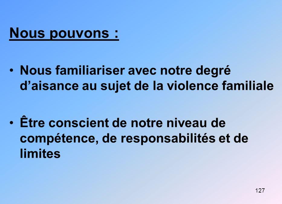 127 Nous pouvons : Nous familiariser avec notre degré daisance au sujet de la violence familiale Être conscient de notre niveau de compétence, de resp