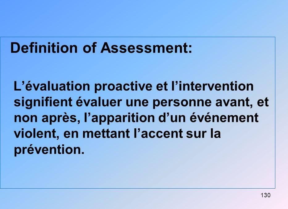 130 Definition of Assessment: Lévaluation proactive et lintervention signifient évaluer une personne avant, et non après, lapparition dun événement vi