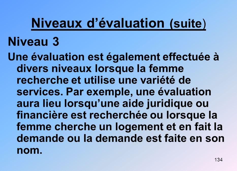 134 Niveaux dévaluation (suite) Niveau 3 Une évaluation est également effectuée à divers niveaux lorsque la femme recherche et utilise une variété de