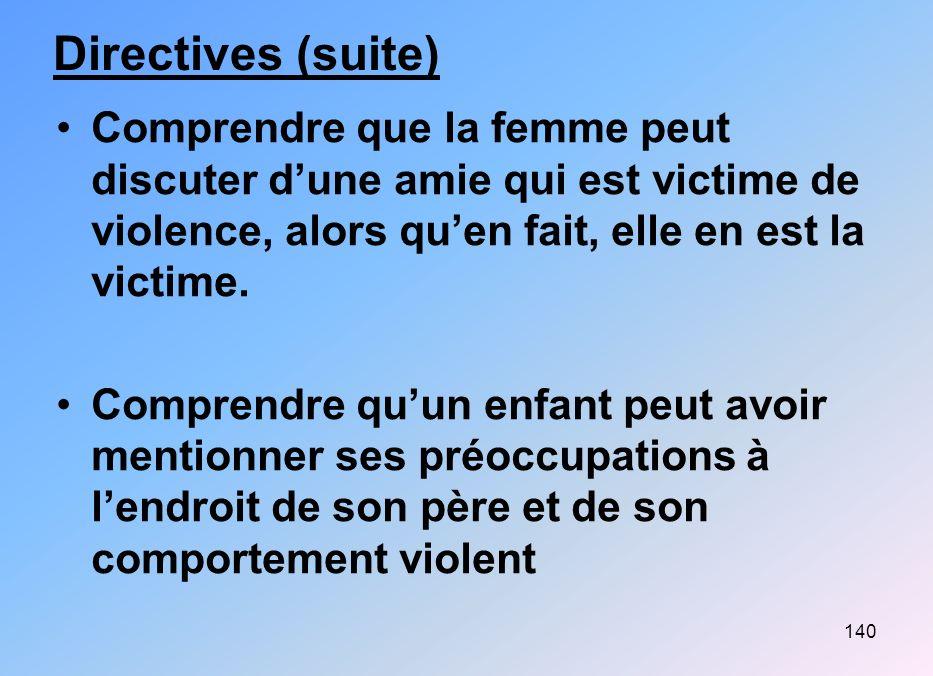 140 Directives (suite) Comprendre que la femme peut discuter dune amie qui est victime de violence, alors quen fait, elle en est la victime. Comprendr