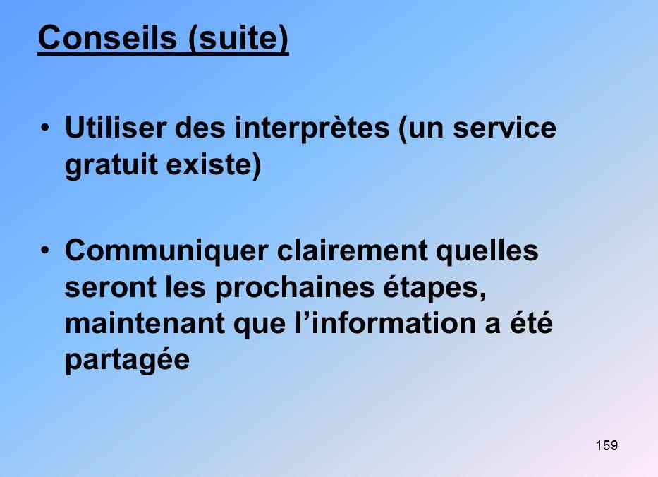 159 Conseils (suite) Utiliser des interprètes (un service gratuit existe) Communiquer clairement quelles seront les prochaines étapes, maintenant que