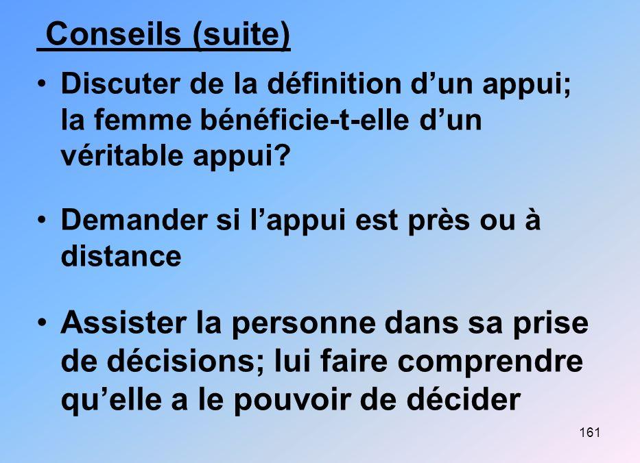 161 Conseils (suite) Discuter de la définition dun appui; la femme bénéficie-t-elle dun véritable appui? Demander si lappui est près ou à distance Ass