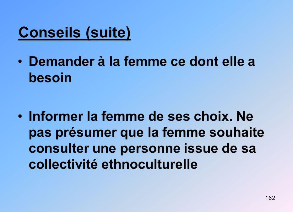 162 Conseils (suite) Demander à la femme ce dont elle a besoin Informer la femme de ses choix. Ne pas présumer que la femme souhaite consulter une per