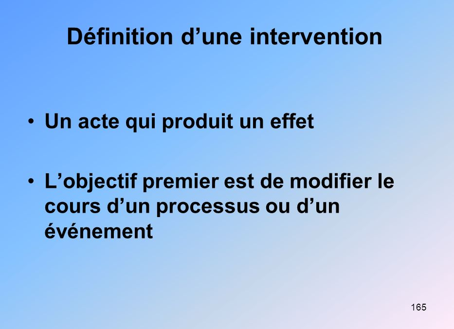 165 Définition dune intervention Un acte qui produit un effet Lobjectif premier est de modifier le cours dun processus ou dun événement