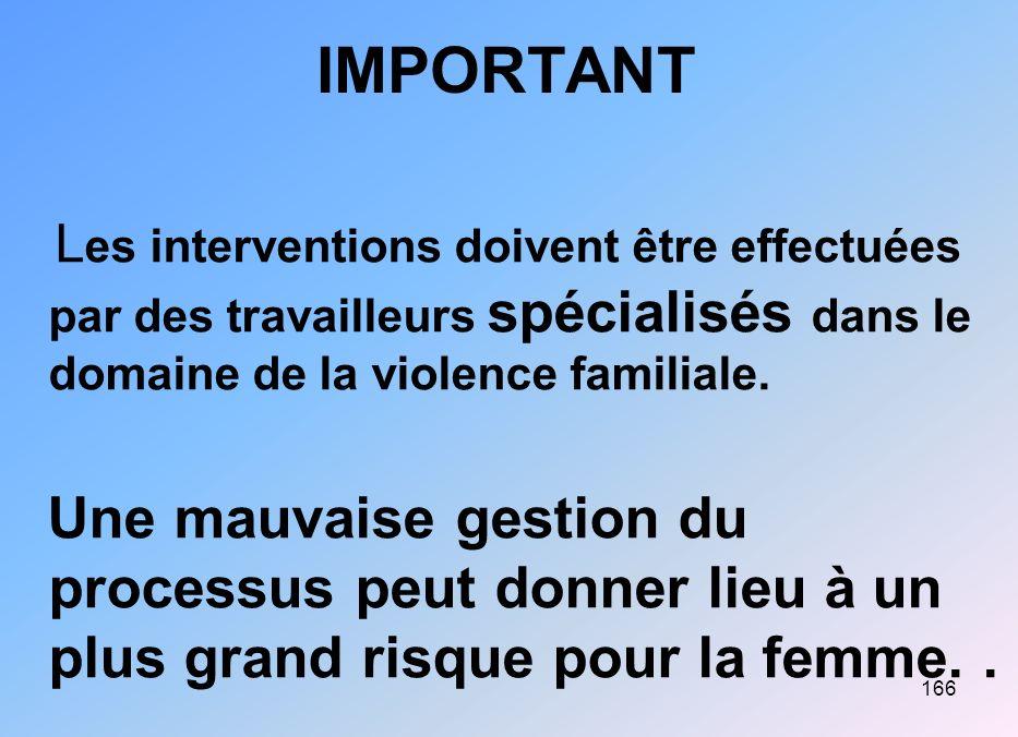 166 IMPORTANT L es interventions doivent être effectuées par des travailleurs spécialisés dans le domaine de la violence familiale. Une mauvaise gesti