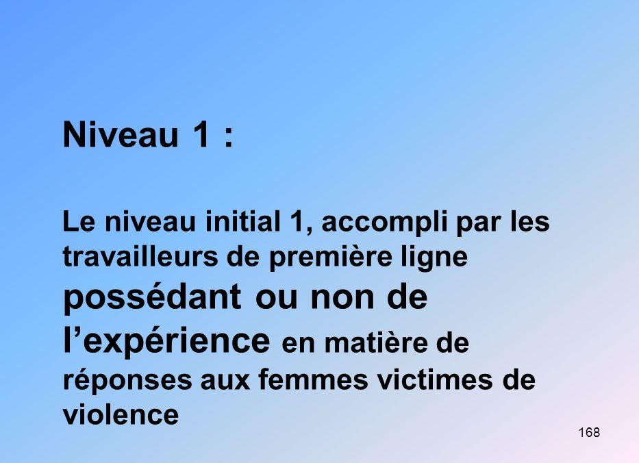 168 Niveau 1 : Le niveau initial 1, accompli par les travailleurs de première ligne possédant ou non de lexpérience en matière de réponses aux femmes