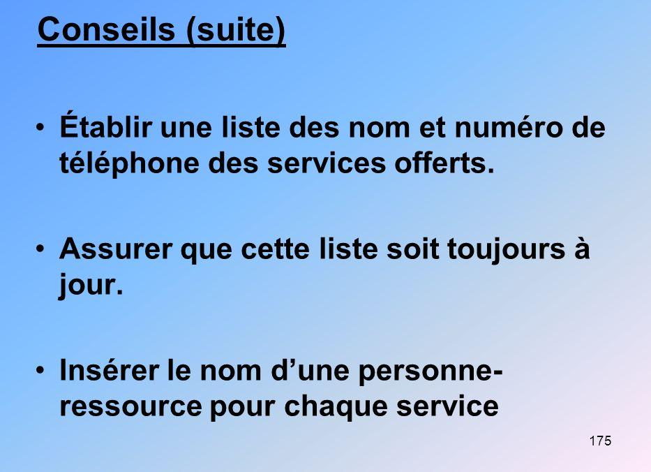 175 Conseils (suite) Établir une liste des nom et numéro de téléphone des services offerts. Assurer que cette liste soit toujours à jour. Insérer le n
