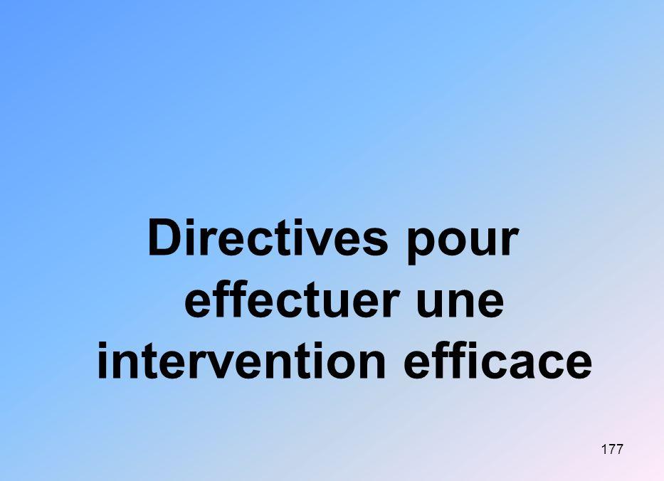 177 Directives pour effectuer une intervention efficace