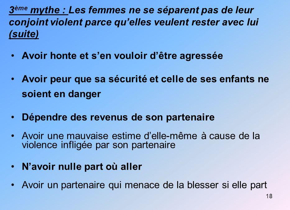 18 3 ème mythe : Les femmes ne se séparent pas de leur conjoint violent parce quelles veulent rester avec lui (suite) Avoir honte et sen vouloir dêtre